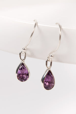 Amethyst Teardrop Sterling Silver Earrings Handcrafted in Peru