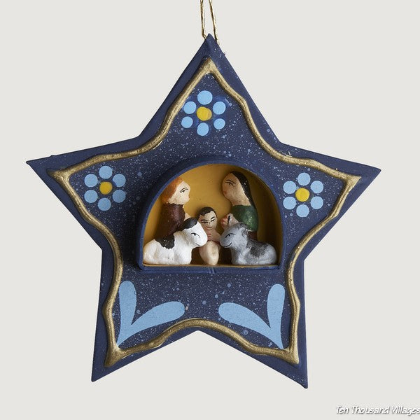 Tiny Retablo Nativity Scene Star Ornament