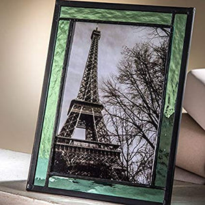 "Cathedral Stained Glass 4 x 6"" Picture Frame ~ Sage Green"