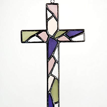 Mosaic Stained Glass Cross Wall Art ~ Iridescent and Beveled Glass