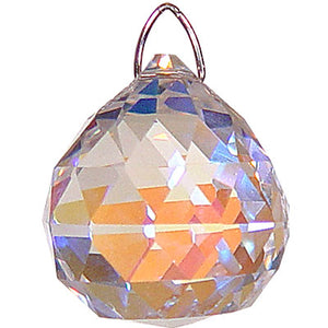 Faceted Sphere Crystal Prism (20 mm) Aurora Borealis Finish