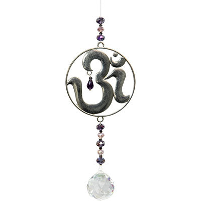Om Hanging Crystal with Cut Glass Beads