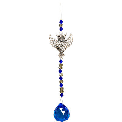 Owl Hanging Crystal with Cut Glass Beads