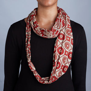 Beaded Sari Infinity Scarf Handcrafted in Bangladesh