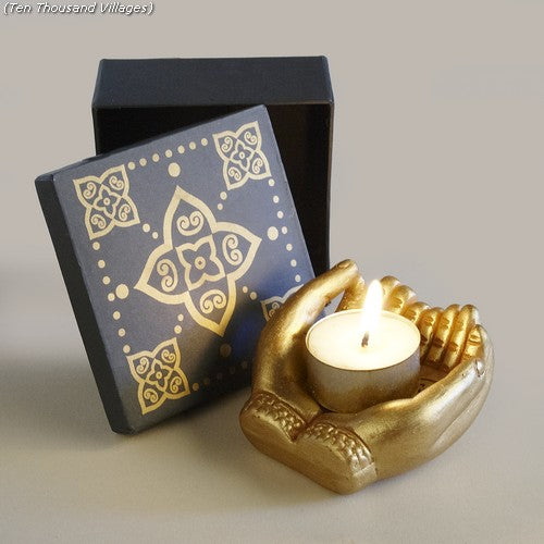 Sharing Light Mudra Hands Tealight Candleholder Handcrafted in Bangladesh