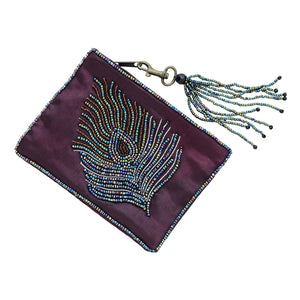 Purple Bead Embellished Peacock Coin Purse
