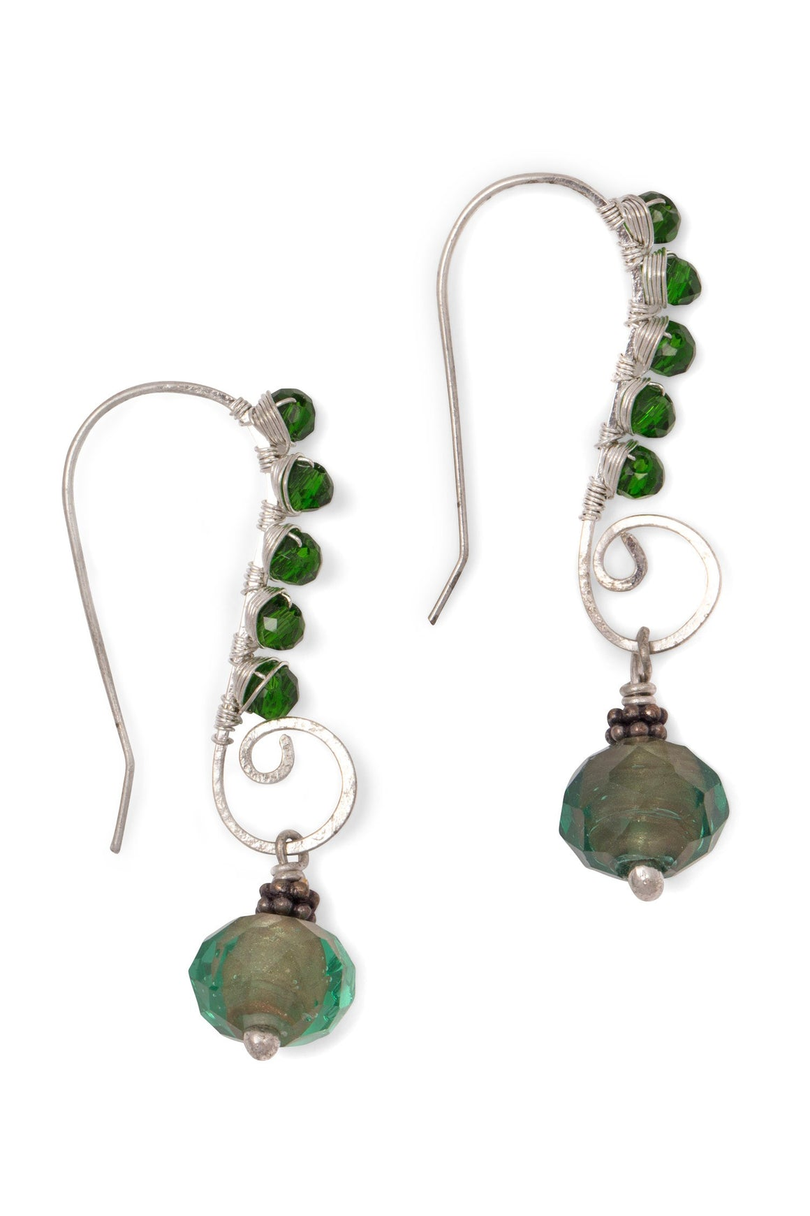 Green Galaxy Earrings Handcrafted in India