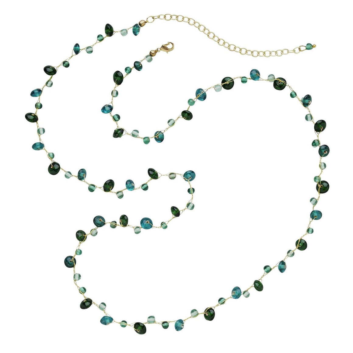 Fresh Water Aqua Tones Glass Bead Necklace Handcrafted in India