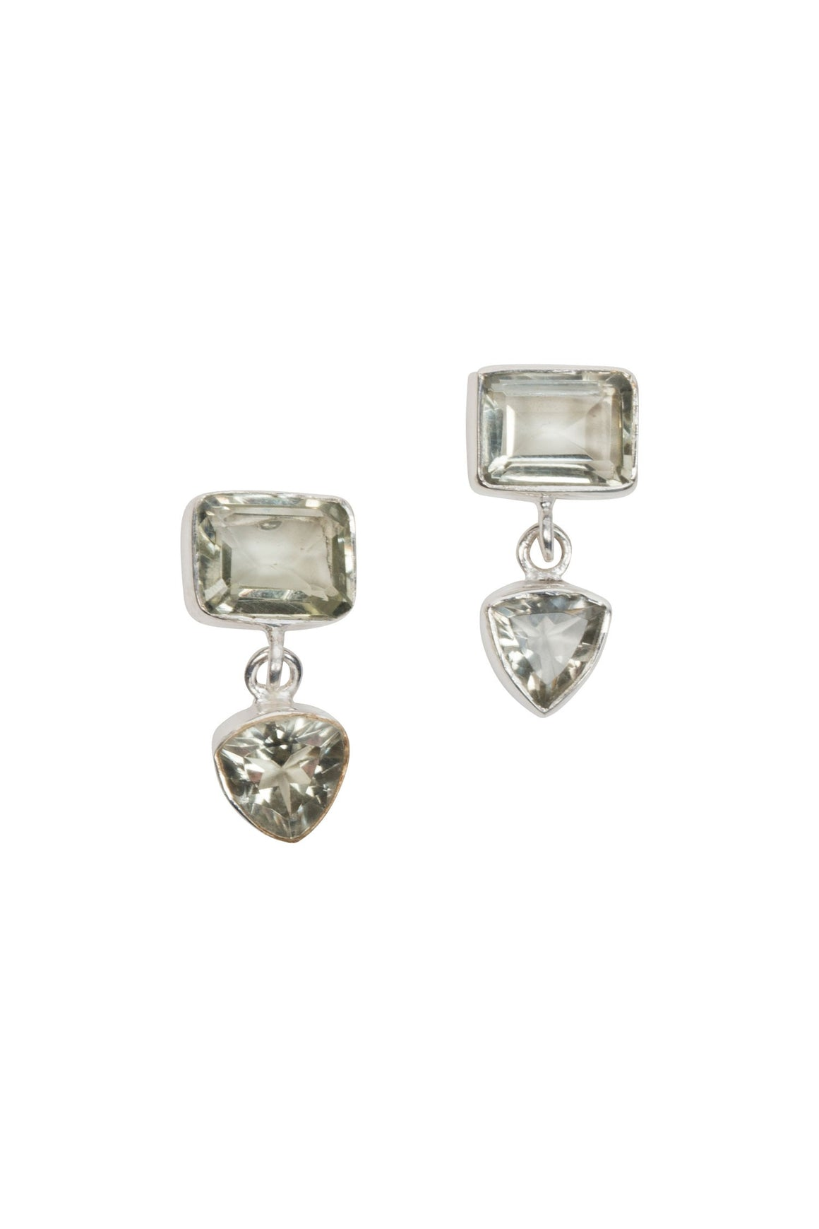 Green Amethyst Post Earrings