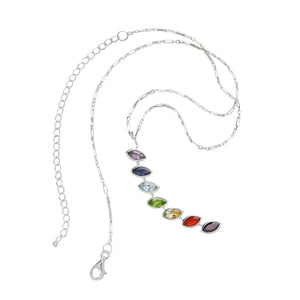 Chakra Gemstones Sterling Silver Necklace Handcrafted in India