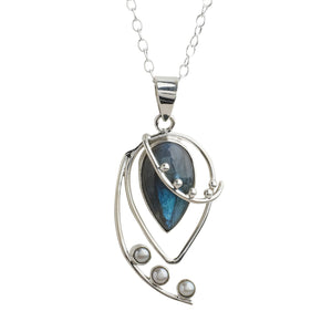 Spring Breeze Labradorite and Pearl Sterling Silver Necklace