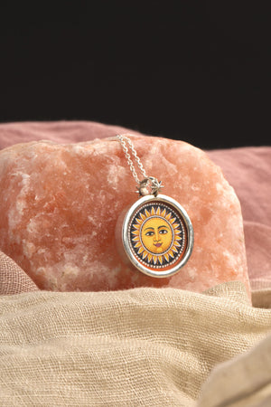 Sun & Moon Handpainted Pendant Sterling Silver Necklace