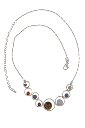Solar System Gemstones Sterling Silver Necklace Handcrafted in India
