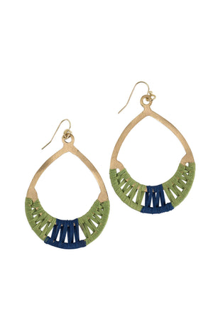 Crisscross Thread Earrings Green & Blue
