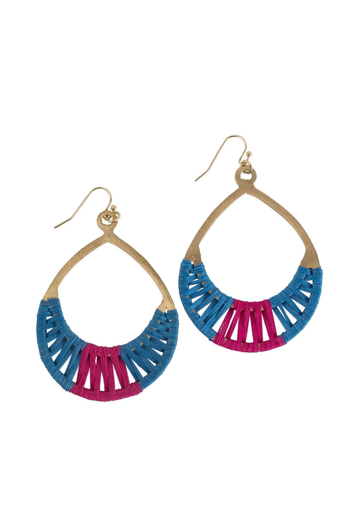 Crisscross Thread Earrings Blue & Pink