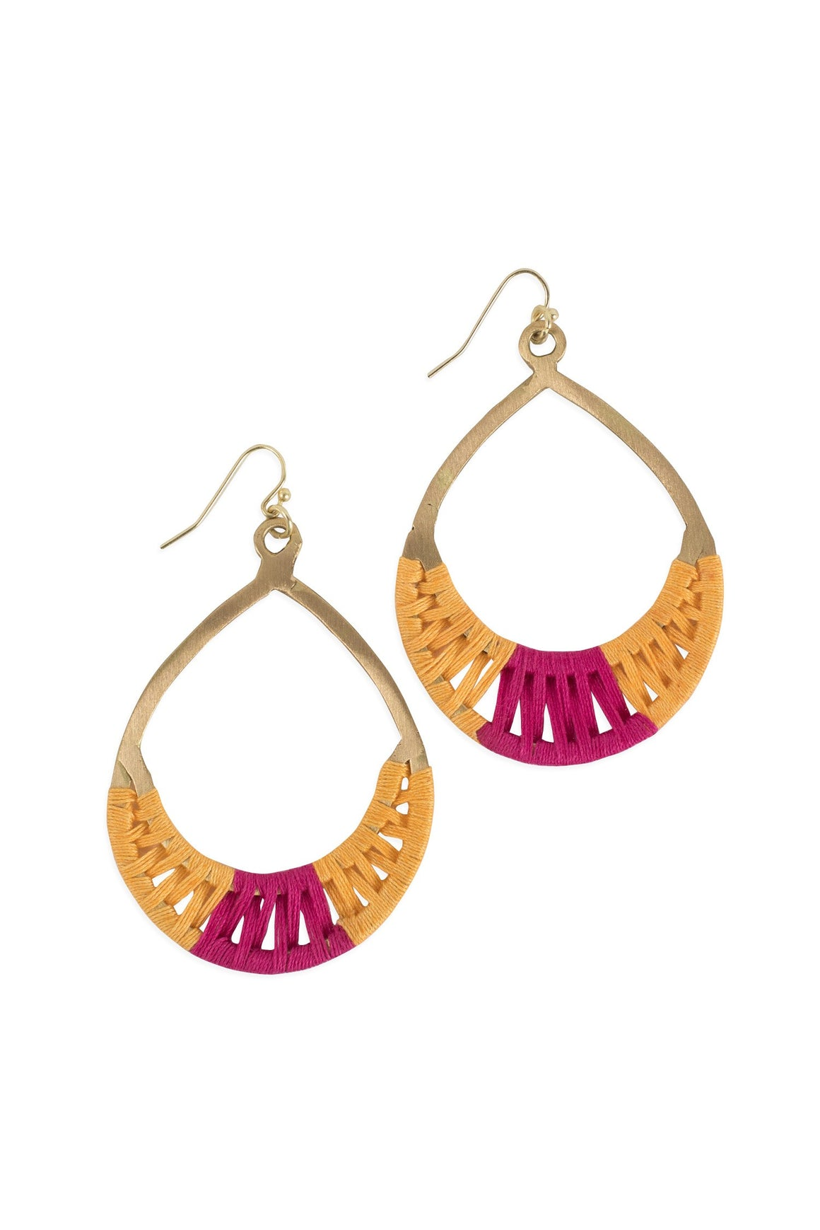 Crisscross Thread Earrings Yellow & Pink