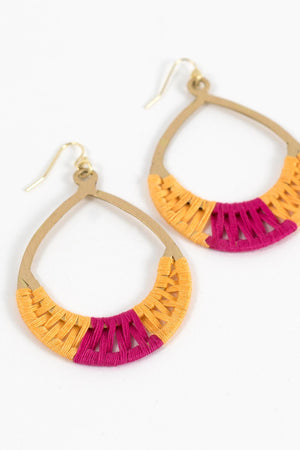 Crisscross Thread Earrings Yellow & Pink Handcrafted in India