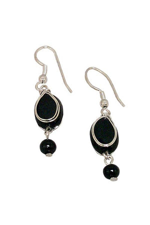 Black Oval Bead Earrings