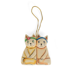 Kitty Cat Buddies Carved Wooden Ornament ~ Global Artisan (Global Fair Trade)