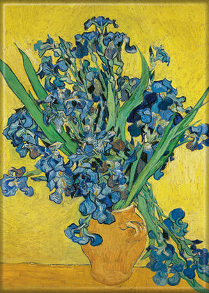 Vincent Van Gogh Vase with Irises Against a Yellow Background magnet