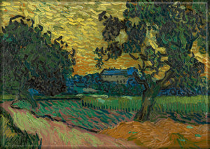 Vincent Van Gogh Landscape with the Chateau of Auvers at Sunset magnet