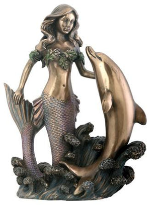 Mermaid with Dolphin Figurine