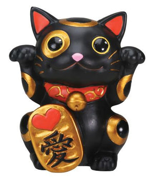Lucky Cat - Maneki Neko Black Figurine
