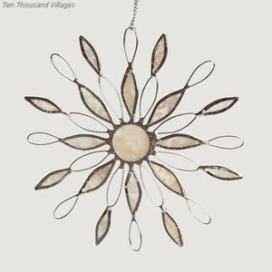 Sun Ray Capiz Snowflake Ornament Handcrafted in Philippines