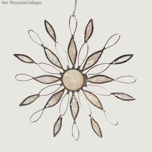 Sun Ray Capiz Snowflake Ornament ~ Global Artisan (Global Fair Trade)
