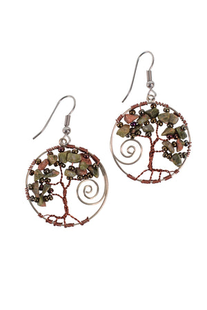 Twisted Tree Bead Earrings