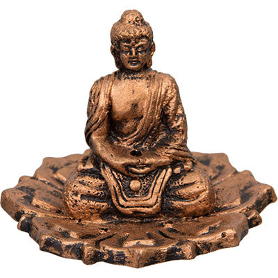 Buddha on Lotus ~ Antique Copper Clay Incense Holder