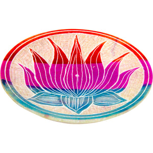 Colored Soapstone Round Incense Holder - Lotus Flower