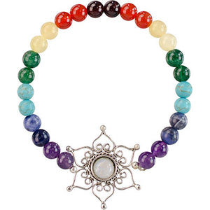7 Chakras Gemstones with Lotus Flower Beaded Bracelet