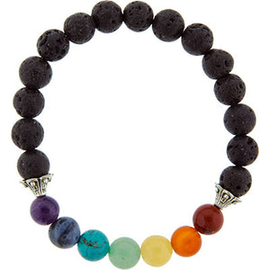 7 Chakra Gemstone Bracelet with Lava Beads Stretch Bracelet