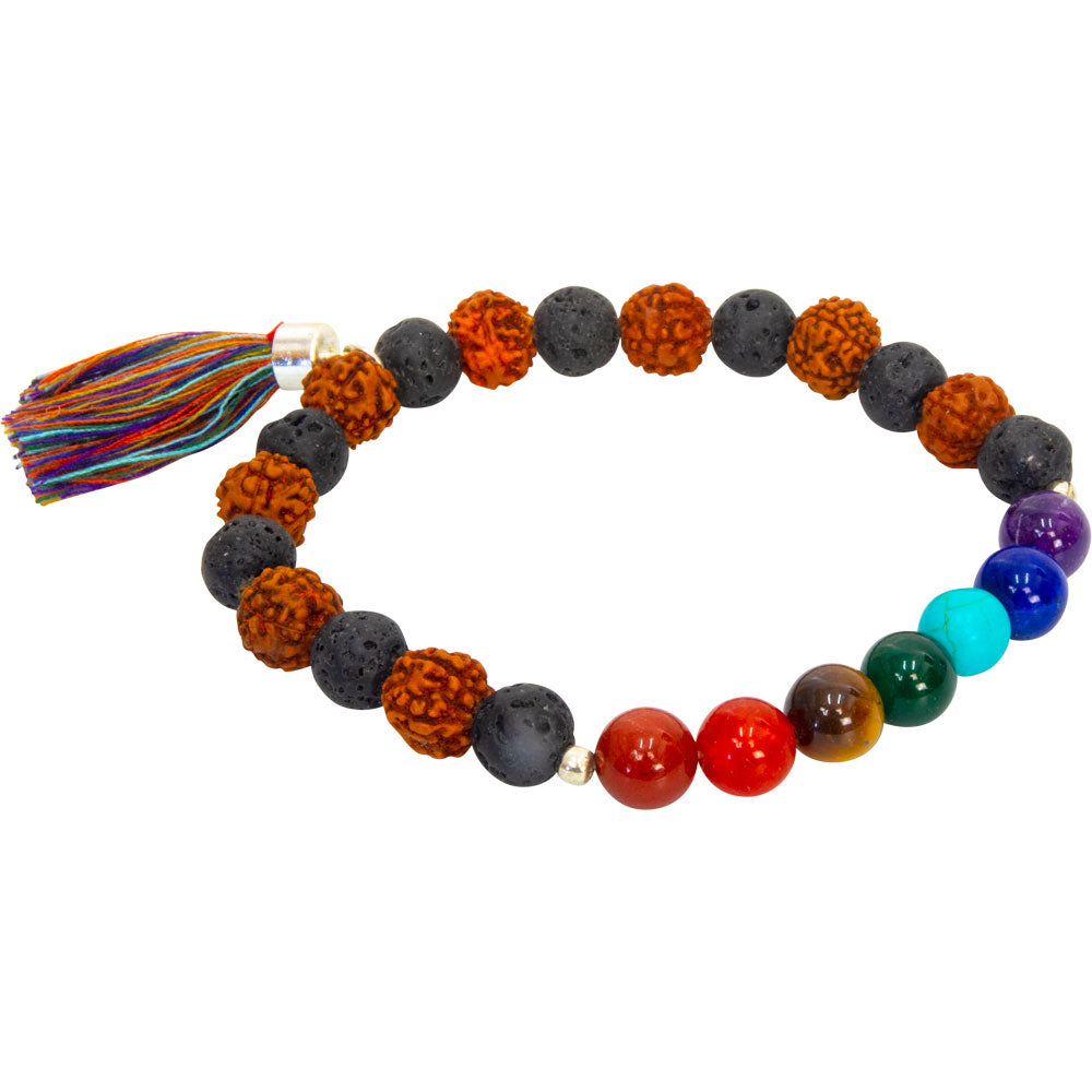 Chakra Gemstones and Lava Stone Rudraska Prayer Bracelet ~ a Joy Alchemy Gift