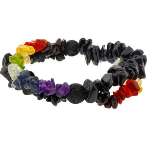 Chakras Double Strand Black Tourmaline Gemstone Chips and Lava Stones Bracelet ~ a Joy Alchemy Gift
