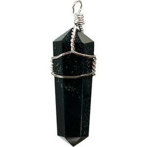 Black Obsidian Point Wire Wrapped Pendant Necklace