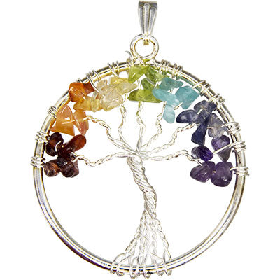 Chakras Gemstone Tree Pendant with Necklace