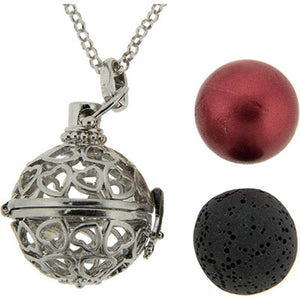 Aromatherapy Lava Necklace ~ Hearts Sphere Pendant