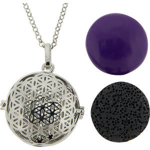 Aromatherapy Lava Necklace ~ Large Flower of Life Pendant