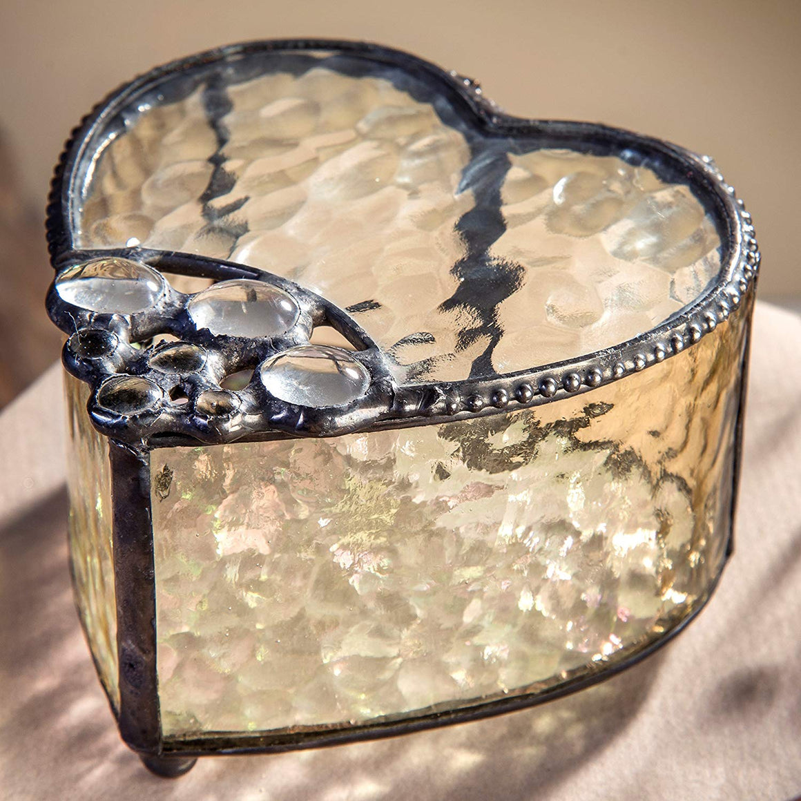 Clear Stones Embellished Heart Box, Beautiful Antique Veil and Clear Hammered Glass