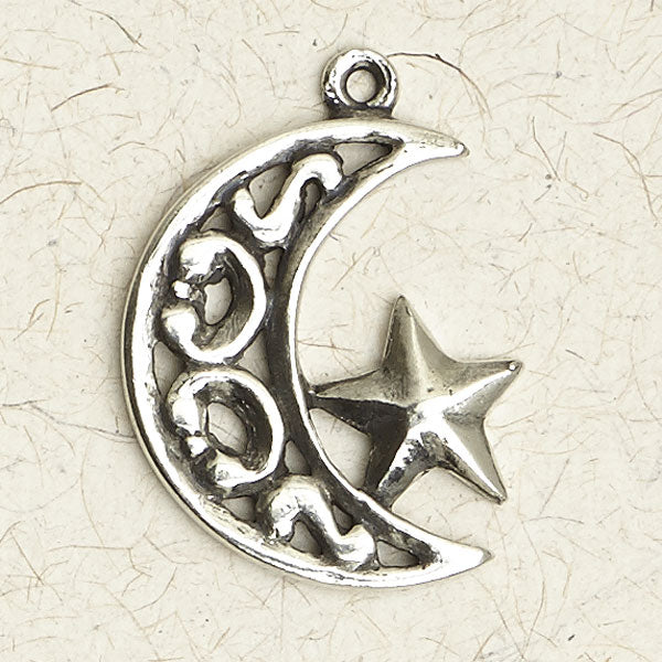 Ornate Moon & Star Pewter Necklace
