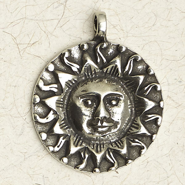 Sun Face Pewter Necklace