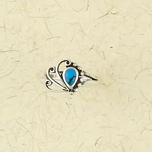 Sterling Silver Ring with Stone Inlay