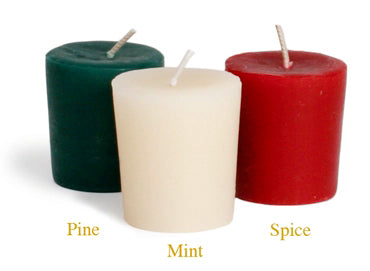 Holiday Aromatherapy Beeswax Votive Candle (Pine, Spice, or Mint)