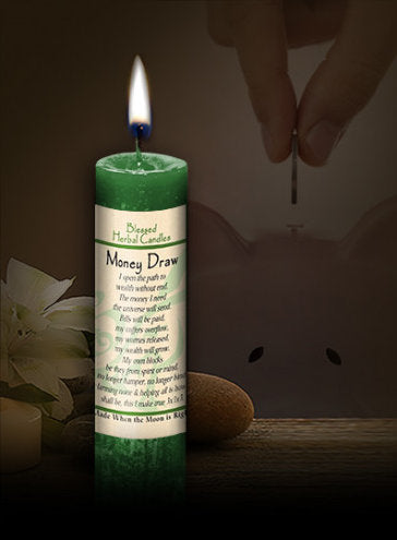 Money Draw ~ Blessed Herbal Candle