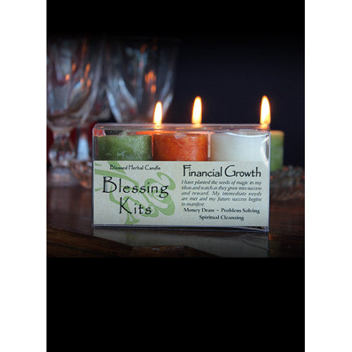Financial Growth ~ Blessed Herbal Candles Blessing Kit
