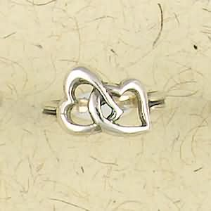 Double Hearts Sterling Silver Ring