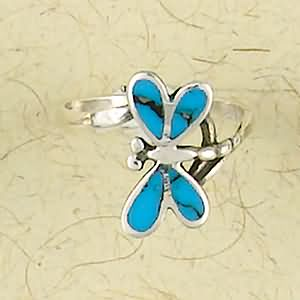 Dragonfly with Inlay Sterling Silver Ring