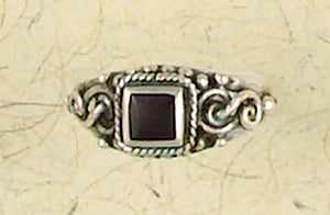 Square Inlay Stone Sterling Silver Ring